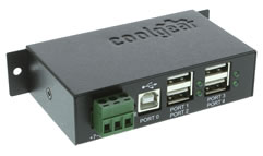 Industrial 4-Port USB 2.0 Powered Hub with DIN-RAIL Mounts