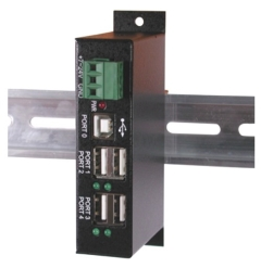 with DIN-RAIL Mounts - Industrial 4-Port USB 2.0 Powered Hub