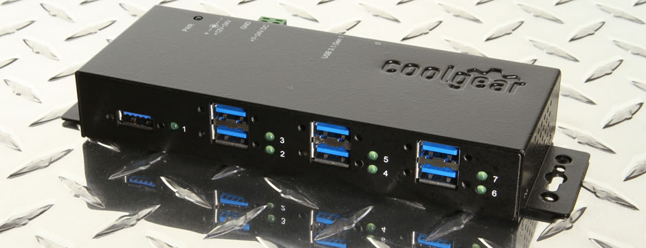 7 Port USB 3.1 Gen1 metal hub with surge protection