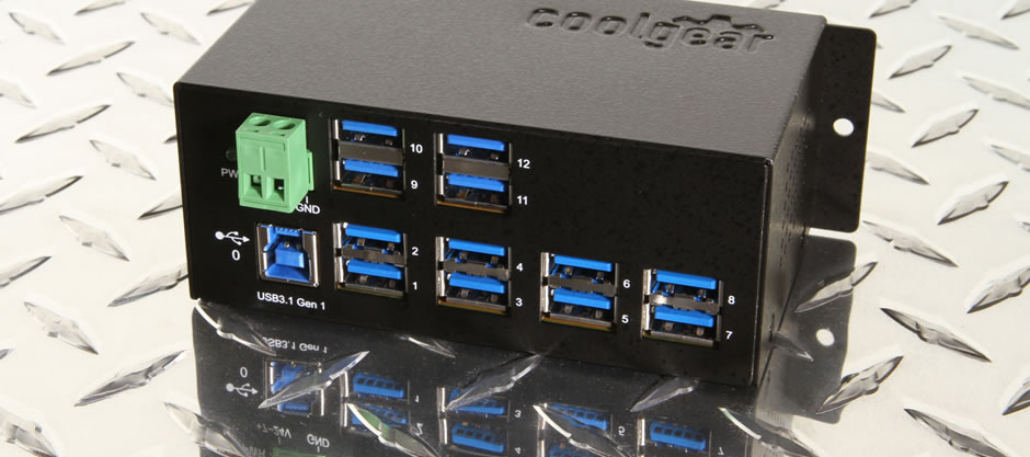 12 port USB 3.1 Gen1 Metal Hub with surge protection